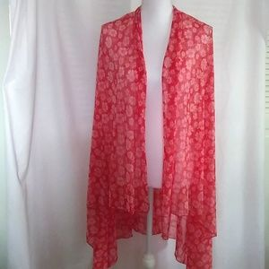 Floral Red and White Scarf/Wrap